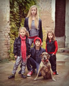 Family Fashion Style.    Black/Grey/Red color pallet on each.