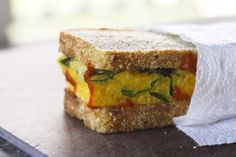 Supreme Spinach and Egg Breakfast Sandwiches - Variation on the egg muffin idea. These are cooked in a and cut for breakfast sandwiches. Make Ahead Breakfast Sandwich, Savory Breakfast, Vegan Breakfast Recipes, Breakfast Sandwiches, Healthy Breakfasts, Freezer Sandwiches, Egg Sandwiches, Homemade Breakfast, Brunch Recipes