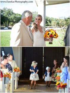 Flower girls in denim jackets, lace dresses, cowboy boots, and baby's breathe flower crown at Fall wedding at Twisted ranch, a 300-acre wedding venue near Georgetown, Texas