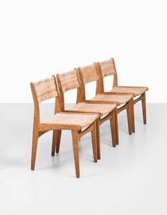 Poul Volther; #260 Oak and Cane Side Chairs for Frem Røjle Møbelfabrik, 1961.