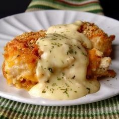 Crispy Cheddar Chicken 2 lbs chicken tenders or 4 large chicken breasts 2 sleeves Ritz crackers ¼ teaspoons salt ⅛ teaspoon pepper ½ cup whole milk 3 cups cheddar cheese, grated 1 teaspoon dried parsley Sauce: 1 10 ounce can cream of chicken soup 2 tablespoon sour cream 2 tablespoon butter