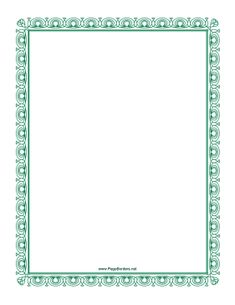 This green border has an elegant look. Free to download and print.