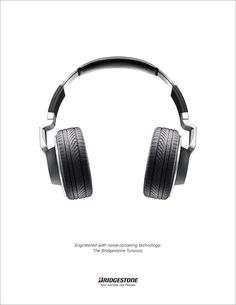 """""""Engineered with noise canceling technology."""" Bridgestone tire ad shot by Craig Cutler. Ads Creative, Creative Advertising, Advertising Design, Street Marketing, Guerilla Marketing, Advertising Poster, Advertising Campaign, Ad Design, Exhibit Design"""