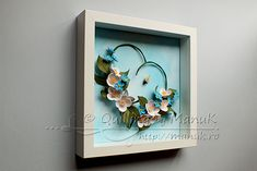 Quilled Jasmines and Forget-Me-Nots in a Shadowbox Frame