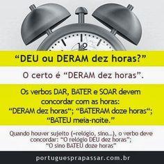 Português na tela: Dúvidas, por quê? #o verbo e as horas