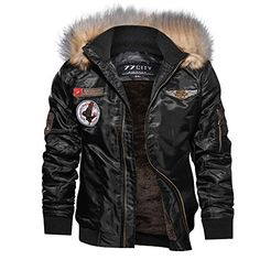 Men Bomber Jacket Winter Parkas Motorcycle Jacket Military Pilot Jacket Army Coat Outerwear Hooded Embroidery Color Black Size M Military Bomber Jacket, Bomber Jacket Winter, Army Coat, Mens Winter Coat, Motorcycle Jacket, Army Jacket Style, Bomber Coat, Motorcycle Leather, Winter Coats