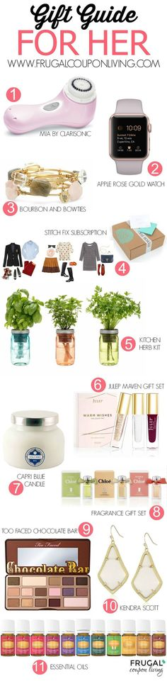 There are some creative ideas in this Gift Guide for Her - a Stitch Fix Subscription, Clarisonic Mia, Herb Mason Jars, Too Faced Chocolate Pallet and more!