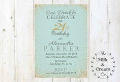 Eat, Drink and Celebrate, Adult Blue Vintage Gold Glitter Birthday Invite, 21st Birthday Vintage Birthday Printable Invite