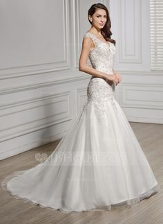 [US$ 249.99] Trumpet/Mermaid V-neck Court Train Tulle Lace Wedding Dress With Beading Sequins