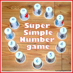Easy way to help my 4 yr. old learn the teen numbers. He liked it! Wrote numbers 1 - 20 on plastic bathroom cups.  1. He put them in a number line. 2. On large sheet of paper, drew circles with numbers in a circle (like in the photo), he matched the numbered circles with the cups.