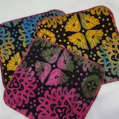 (T) Rainbow Batik Deluxe Cloth Wipes Baby Bamboo Terry Backed