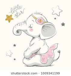 Can be used for … Cute elephant ballerina cartoon hand drawn vector illustration. Can be used for t-shirt print, kids wear fashion design, baby shower invitation card. Baby Elephant Drawing, Cute Baby Elephant, Elephant Baby Showers, Elephant Drawings, Cute Elephant Cartoon, Elephant Images, Baby Shower Invitation Cards, Baby Shower Cards, Cartoon Kunst