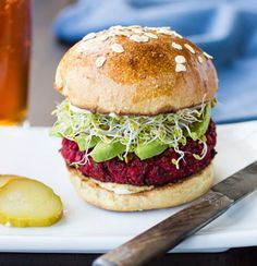 The Bojon Gourmet: Quinoa, Beet and Chickpea Burgers - Such a beautiful sandwich! And oh, so delicious! Trust me, I thought I didn't like beets or quinoa! Well I love this sandwich, sprouts and all! Beet Recipes, Burger Recipes, Whole Food Recipes, Vegetarian Recipes, Cooking Recipes, Pizza Recipes, Beet Burger, Chickpea Burger, Quinoa Burgers