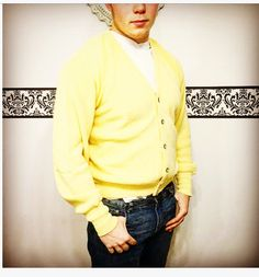 A personal favorite from my Etsy shop https://www.etsy.com/listing/508353227/1960s-sunshine-yellow-mens-cardigan-by