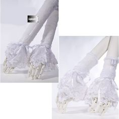 White Lace Elbow Length Fingerless Goth Dress Gloves Arm Warmers SKU-71102067