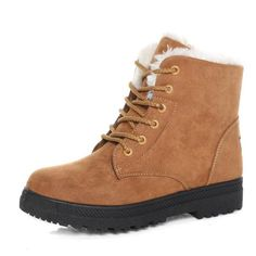 New Women Winter Keep Warm Flat Lace Up Plush Martin Boots Snow Boots Ankle Short Boots