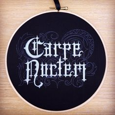 Carpe noctem embroidered art seize the by StitchesOfAnarchy