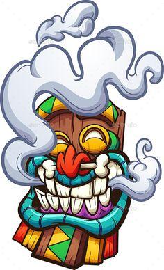 Vector illustration with simple gradients. All in a single layer. Graffiti Art, Graffiti Doodles, Graffiti Drawing, Dope Cartoon Art, Cartoon Kunst, Cartoon Smoke, Zombie Drawings, Cool Drawings, Tiki Maske