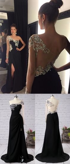 Black Prom Dresses Long, One Shoulder Formal Dresses Long Sleeve, Sheath/Column Party Dresses Chiffon, Tulle Crystal Evening Dresses Modest