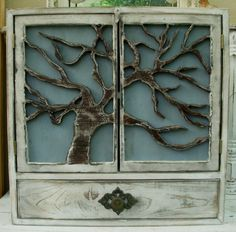 Oak Tree  Cabinet  Shelf Shabby cottage  chic  von honeystreasures, $265.00