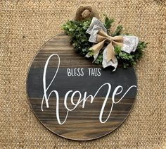 Bless this Home Door Hanger – The Rustic Peach Burlap Bows, Burlap Wreath, Door Wreaths, Grapevine Wreath, Mason Jar Kitchen Decor, Centerpieces, Table Decorations, Door Hangers, Grey Stripes