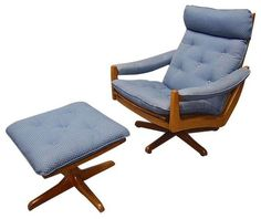 Lied Mobler Solid Teak Swivel Chair and Foot Stool