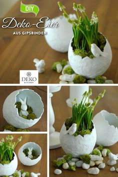 DIY: make pretty decorative Easter eggs from plaster bandages - DIY: Deko selber machen - Crafts world Easter Table Decorations, Diy Kitchen Decor, Deco Floral, Vases Decor, Easter Crafts, Spring Flowers, Happy Easter, Easter Eggs, Diy And Crafts