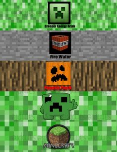 Minecraft Water Bottle Labels by PartyPaloozza on Etsy, $4.00