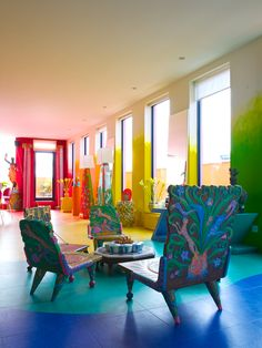 A living room like a rainbow
