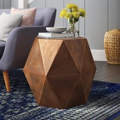 Side Table Decor, Table Decor Living Room, Living Room End Tables, Table Decorations, Tall Living Room Lamps, Copper Living Room Decor, Cool Room Decor, End Tables With Storage, Tall End Tables