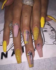in 2019 acrylic nails, glam nails und Aycrlic Nails, Glam Nails, Bling Nails, Nail Swag, Best Acrylic Nails, Acrylic Nail Designs, Coffin Acrylic Nails Long, Dope Nail Designs, Long Stiletto Nails