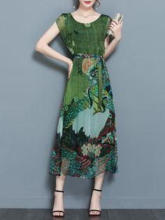 Gracila Elegant Women Floral Printed Loose Short Sleeve Mid-long Dresses - Banggood Mobile