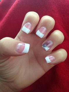 french manicure with black silver line daisy   French tip with black & silver design