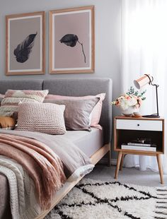 cosy bedroom in peach and grey