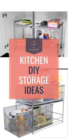 Easy & Clever Kitchen Storage & Organization Hacks Ideas Clever Kitchen Storage, Kitchen Organization, Storage Organization, Storage Ideas, Diy Kitchen Decor, Kitchen Hacks, Kitchen Ideas, Simple Diy, Easy Diy