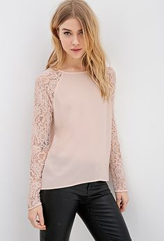Lace Raglan Sleeve Top | FOREVER21 - 2000099226