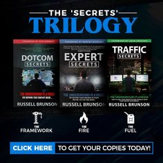 The Secrets Trilogy is a box set of hard bound copies of Russell Brunson's books DotCom Secrets, Expert Secrets and Traffic Secrets. Russell Brunson is the CEO of ClickFunnels Make Money Blogging, Make Money Online, How To Make Money, Digital Marketing Strategy, Marketing Strategies, Free Advertising, Affiliate Marketing, Email Marketing, Messages