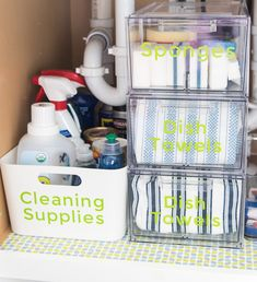 How to organize under the kitchen sink. Get rid of all the clutter and create a functional and beautiful organized cabinet. Learn exactly what organizing products to buy. Under Kitchen Sink Organization, Under Kitchen Sinks, Diy Kitchen, Kitchen Hacks, Ikea Under Sink Storage, Kitchen Ideas, White Kitchen Cabinets, Organised Kitchen Diy, Organize Under Sink
