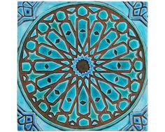 Moroccan wall hanging made from ceramic - exterior wall art - moroccan art - moroccan wall hanging - handmade tile - moroc1 - turquoise