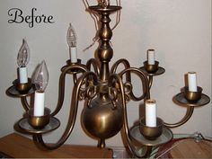 Inspiring Chandelier Makeovers...great idea for my ugly one that came with my house!