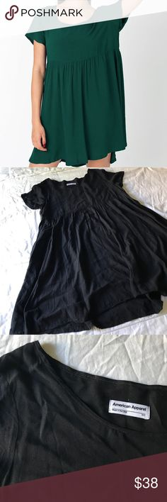 BLACK babydoll dress American Apparel rayon babydoll dress. The dress is black but it's tough to see details in a photo of a black dress, so I included the AA catalog images of other colors so you can really see the dress. Dress is comfy and flowy American Apparel Dresses