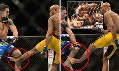 The horrific moment legendary UFC fighter breaks his leg after opponent blocks a kick with his knee