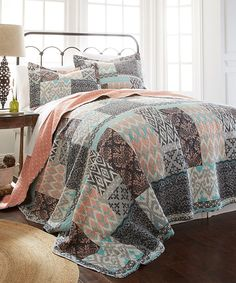 Look at this Coral & Turquoise Three-Piece Reversible Quilt Set on #zulily today!