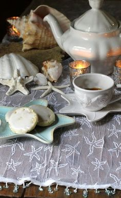 Starfish Lace Starfish Lace Table Runner: The Charm of Home Tea Party Theme, Tea And Books, Lace Table Runners, Cottages By The Sea, Coastal Decor, Coastal Cottage, Coastal Living, Tea Caddy, Tea Art