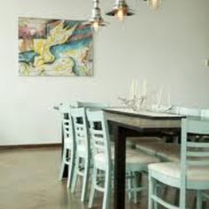 dining rooms, pendants, lighting, dining room tables, light fixtures, dining chairs, painted chairs, lamp, pendant lights