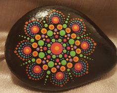 Mandala stone #39, painted stone