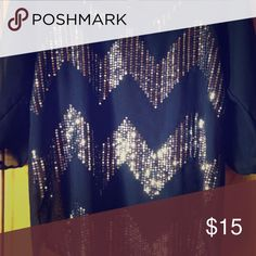 Sparkly blue blouse- Rue21 Blue sheer blouse, chevron silver sparkle - worn a few times Rue 21 Tops Blouses