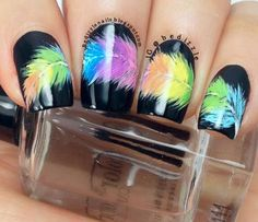 mani tutorial: gradient neon feather nail art