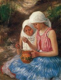 Kislányok csuporral by Oszkár Glatz