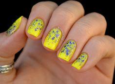 Fun in the Sun - Nailed It   The Nail Art Blog. Used:  Yellow Polka Dot Bikini (China Glaze) and Eutopia (L.A. Girl).